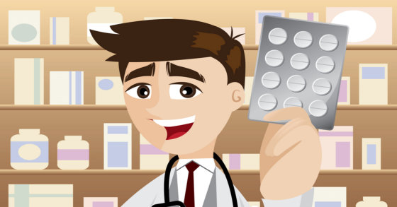 animated pharmacist holding tablet medicines